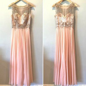 Cinderella Divine Pink Jeweled A-Line Gown